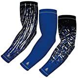 (3-pack) Sports Arm Sleeve for Baseball Football Basketball Bowling or Other Activities. Youth and Adult sizes in 8 Colors. For Men and Women. By B-Driven Sports. 12mmGH compression.