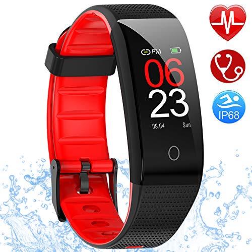AMOYEE Fitness Armband mit Pulsmesser, Blutdruckmessung Fitness Uhr Wasserdicht IP68 Fitness Tracker mit Pulsuhren Aktivitätstracker Schlafmonitor Schrittzähler Kalorienzähler Smart Armband uhr Herren