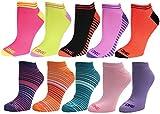 Just One Women's 10 Pack Queen Super Soft Low Cut Socks Size 10-13 Large, Shoe Size 8-13, Stripes/Half Stripes Multi Color