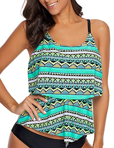 led Layered Printed Tankini Top Strappy One Piece Swimwear Zigzag Green Large (fits US 12-US 14) ()