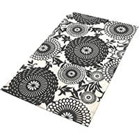 TreeWool Decorative Mat Area Rug Oriental Bloom Accent 100% Cotton (27 x 45 Inches, Grey/Natural)