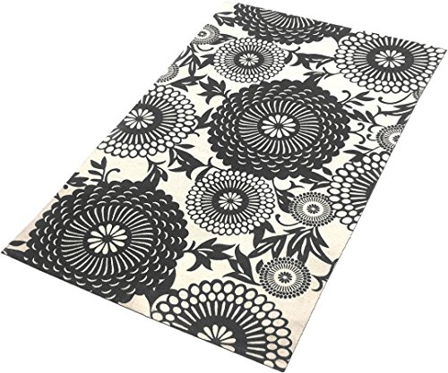 - TreeWool Decorative Mat Area Accent Rug (27 x 45 Inches) Oriental Bloom Design 100% Cotton Flat Weave - Grey & Cream