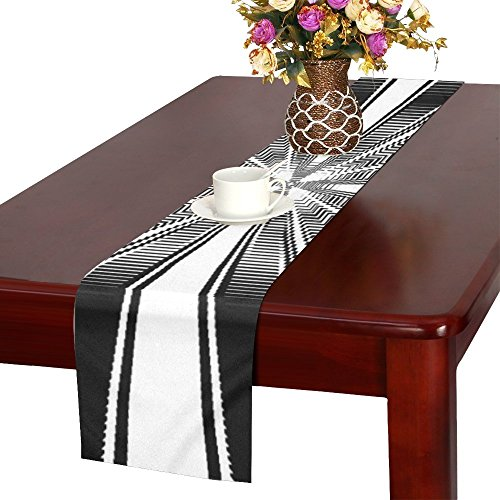 QYUESHANG Structure Texture Rays Pattern Bill Table Runner, Kitchen Dining Table Runner 16 X 72 Inch For Dinner Parties, Events, -
