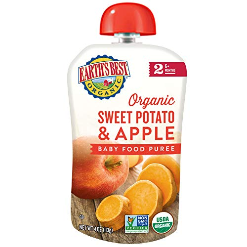 Earth's Best Organic Stage 2 Baby Food, Sweet Potato Apple, 4 Count