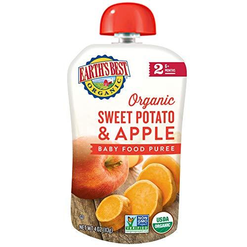 Kosher Potatoes - Earth's Best Organic Stage 2 Baby Food, Sweet Potato Apple, 4 Count