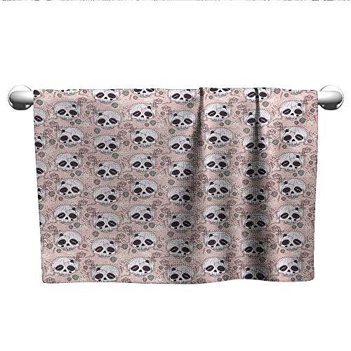 alisoso Skull,Kids Bath Towels Halloween Traditional Mexican Sugar Day of The Dead Roses Horror Folk Pattern Gym Towels for Women Blush White Onyx W 20