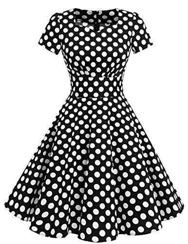 Estilo DresstellsVestido Mujer White Manga Corta 1950 Dot Corto De Vintage con Black tq6w4qSr