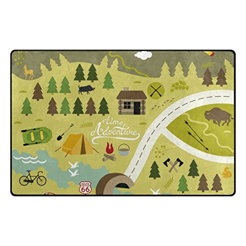 ColourLife Lightweight Non Slip Carpet Mats Area Soft Rugs Floor Mat Rug Decoration for Kids Room Living Room 60 x 39 inches Camping Outdoor Activities by ColourLife