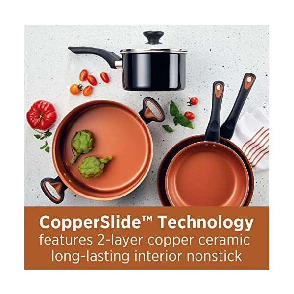 Farberware Glide Dishwasher Safe Nonstick Cookware Pots and Pans Set, 11 Piece, Black 2
