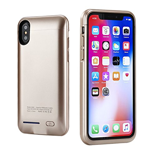 "iPhone X Battery Case 4000mAh,i.Valux Slim Extended iPhone X Charger Case Rechargeable Power Bank Battery Charging Case Magnetic Mount Kickstand iPhone X (5.8"",Gold) by i.VALUX"
