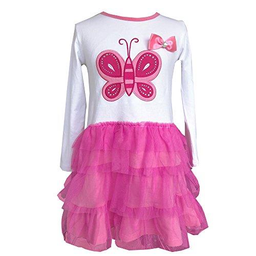 VIKITA Toddler Flower Girl Dress Winter Long Sleeve Tutu Party Dresses for Girls 3-7 Years, Knee-Length (LH4555WHITE, -