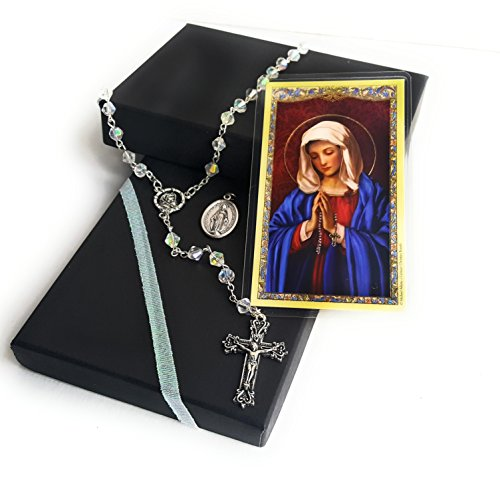 Crystal Clear Christian Rosary Gift set (Miraculous medal and holy card with prayer) (Clear)