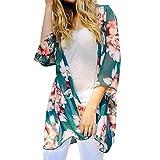 i top - Tootu Women Chiffon Loose Shawl Print Kimono Cardigan Top Cover up Blouse Beachwear (M, I)