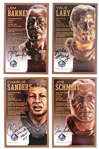 Joe Schmidt Detroit Lions - PRO FOOTBALL HALL OF FAME Detroit Lions Set of 4 Signed Bronze Bust Set Autographed Cards (Limited Edition Only 150 Produced) LEM Barney, Yale Lary, Charlie Sanders, Joe Schmidt