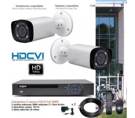 Hyundai – Kit de video vigilancia Full 1080p con 2 Cámaras HDCVI exteriores IR 60 m