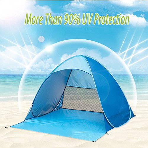 - Top_Quality555 Blue Pop Up Beach Quick Setup Tent Sun Shelter Shade Easy Up Portable Anti UV Cabana Beach Tent