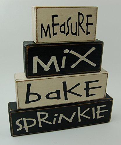 - Measure-Mix-Bake-Sprinkle - Kitchen Decor - Primitive Distressed Wood Sign Shelf Sitting Stacking Blocks Wedding Shower Gift