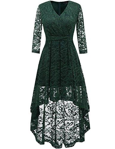 DRESSTELLS Women's Vintage Floral Lace Bridesmaid Dress 3/4 Sleeve Wedding Party Cocktail Dress Dark Green S