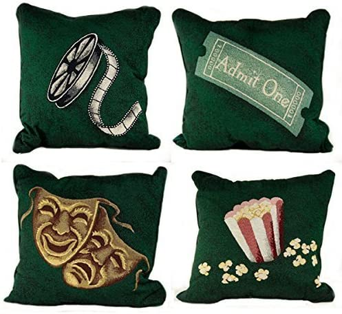 Stargate PILLSET4GRN-V1 4 Deluxe Green Home Theater Film Movie Pillows, Set of 4-Variety Pack