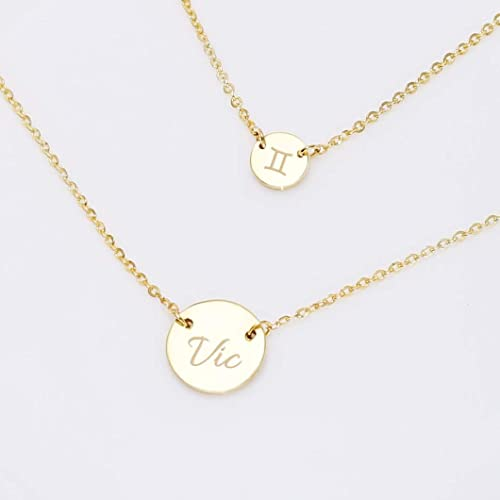 5820048b2 Image Unavailable. Image not available for. Color: Graceful Rings Gix  Minimalist Personalized Initial Name Necklaces ...