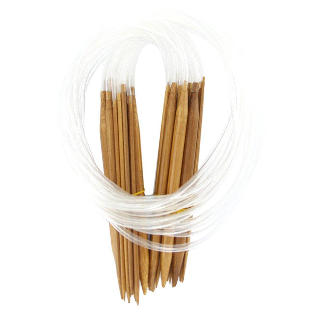 【ノーブランド品】編み針 輪針 ミニ輪針 竹編針 18本セット 18サイズ 2.0mm-10.0mm B008OAWQIM  80cm