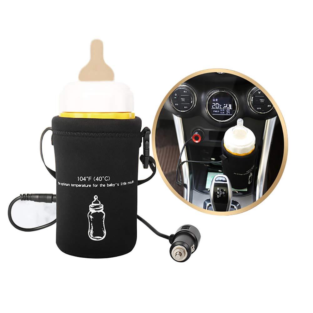 Car Bottle Warmer for Babies FOONEE Portable Baby Bottle Warmer for Car Travel, Constant Temperature 40°C, 12V Baby Bottle Warmer Travel Car Cigarette Adapter for 65~75mm Bottles