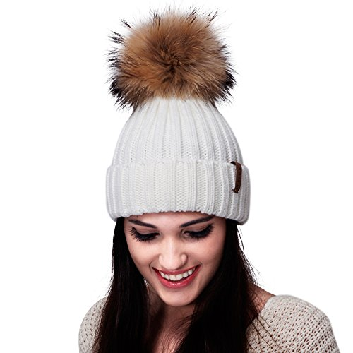 Womens Knitted Winter Pom Beanie Hat Faux Fur Pom Pom bobble Hat beanie for girls,One Size White ()