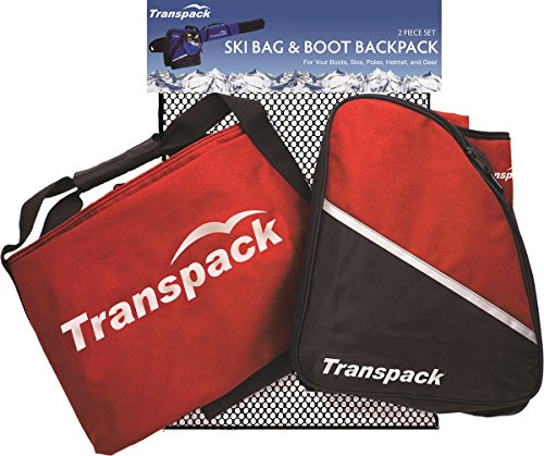 (Transpack Alpine Ski/Snowboard Boot Bag Backpack and Ski Bag Combo - Red)