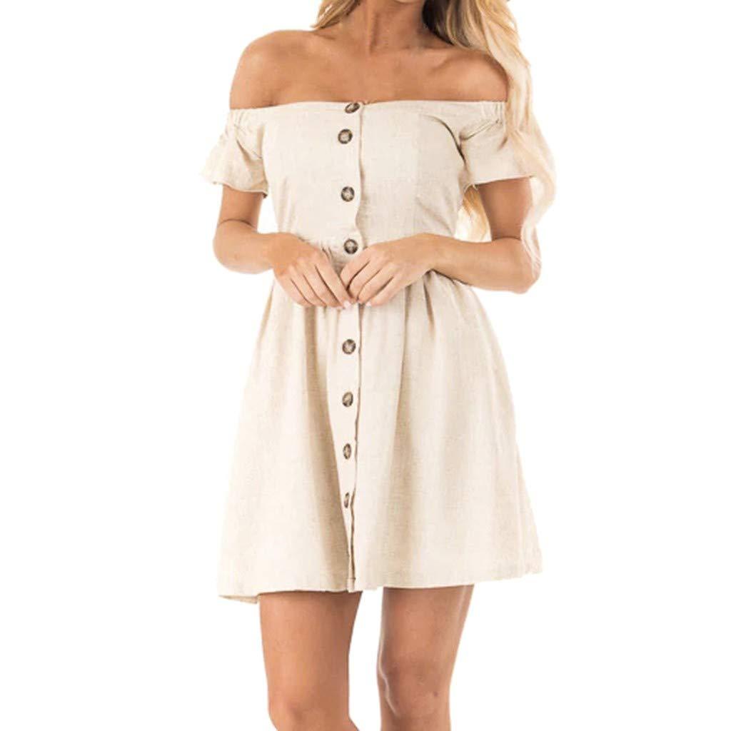 Tanlo Fashion Women Summer One Shoulder Button Dress Holiday Beach Dress Sundress (Beige, XXL)