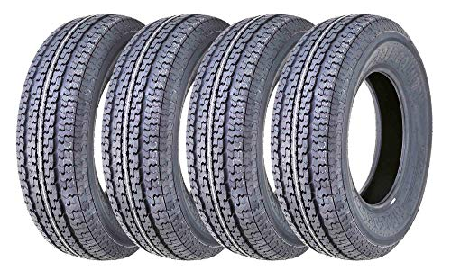 Set of 4 New Premium FREE COUNTRY Trailer Tires ST 205/75R15 8PR/Load Range D w/Scuff Guard