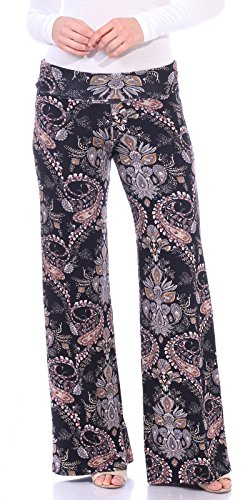 Paisley Chic (Popana Womens Comfy Chic Wide Leg Boho Print Palazzo Pants Plus Size Made in USA X-Large ST48 Paisley)
