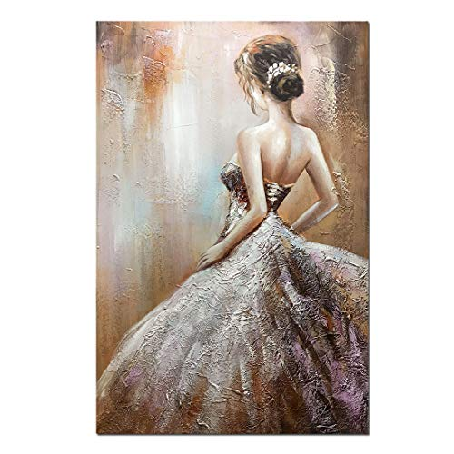 Boiee Art,24x36inch Sexy Dancing Girl's Back Hand Painted on Canvas Wall Art Modern Artwork Abstract Oil Paintings Figure Fine Art Wood Inside Framed Ready to Hang for Living ()