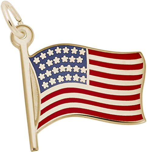 Rembrandt Enamel USA American Flag Charm - Metal - 14K Yellow Gold