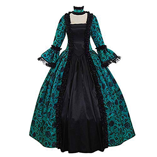 Aniywn Plus Size Halloween Floral Print Costume Renaissance Medieval Gown Cosplay Long Prom Dress Green