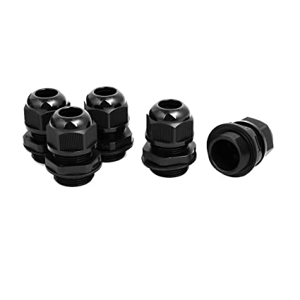 M25x1.5mm 6mm 2 Holes Adjustable Cables Gland Black 5pcs