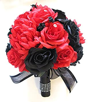 Amazon.com: Wedding Flowers Silk Bridal Bouquet BLACK RED 17 piece ...