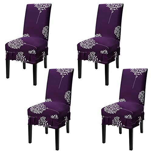 Fuloon 4 Pack Super Fit Stretch Removable Washable Short Skirt Dining Chair Protector Cover Seat Slipcover for Hotel,Dining Room,Ceremony,Banquet Wedding Party (4, PL)  (Skirt Parson Chairs)