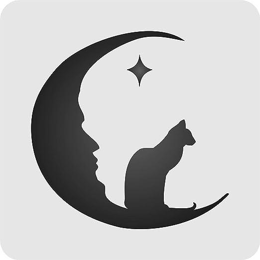 Halloween luna gato plantilla – reutilizable de pared plantillas para pintar y proyectos de vacaciones – uso en paredes, suelos, tejidos, cristal, madera, y más... Medium: Amazon.es: Juguetes y juegos