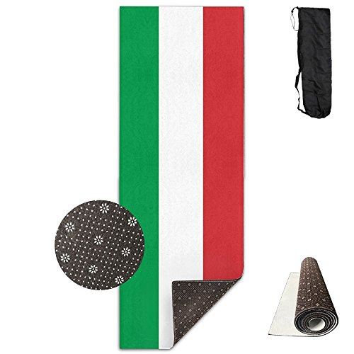 RESS TGR Italy Flag Printed Yoga Mat Foldable 6mm Thick Non-Slip Exercise Mat Fitness Mat For Yoga, Workout, Fitness 70''x 24'' by RESS TGR