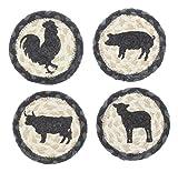 Capitol Earth Rugs Set of 4 Natural Jute Fiber Coasters (Farm Animals)