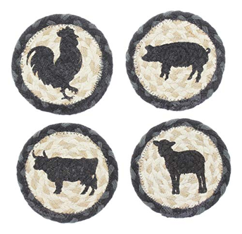 Capitol Earth Rugs Set of 4 Natural Jute Fiber Coasters (Farm Animals) ()