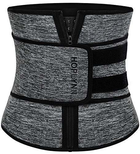 HOPLYNN Neoprene Sweat Waist Trainer Corset Trimmer Belt for Women Weight Loss, Waist Cincher Shaper Slimmer Grey Small