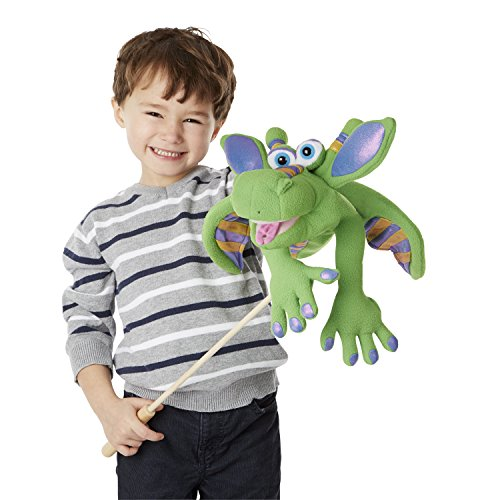 Melissa & Doug Smoulder the Dragon Puppet with Detachable Wooden Rod, 15 x 10-Inch