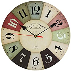 Adalene Wall Clocks Battery Operated Non Ticking 12 inch Vintage Colorful Wood Wall Clock Silent - Analog Quartz Large Decorative Wooden Retro Kitchen Clock - For Bedrooms, Living Room, Bathroom