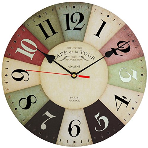 Adalene Wall Clocks Battery Operated Non Ticking 12 inch Vintage Colorful Wood Wall Clock Silent - Analog Quartz Large Decorative Wooden Retro Kitchen Clock - For Kids Bedrooms, Living Room, Bathroom