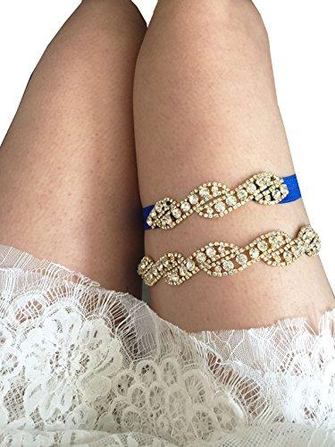 Rhinestones wedding garter set stretchable legs garters wave style P07 (Gold in royal blue band)
