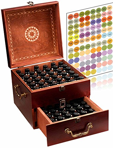 (Beautiful 2 Tier Essential Oil Storage Box Organizer with 2 Carry Handles Holds 85 5-30ml & 10ml Roller Bottles (Space for 2oz 4oz Bottles) Free Bottle Opener & 192 EO Labels - Wooden Oil Case Holder)