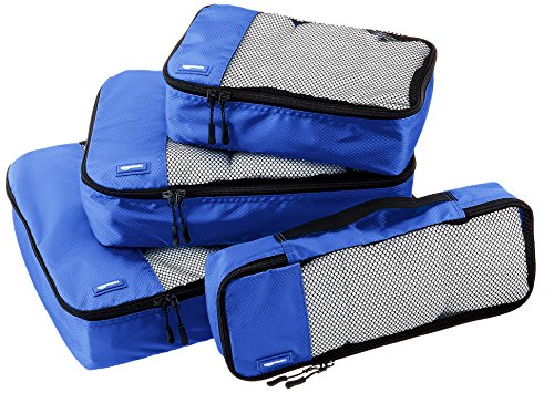 AmazonBasics 4-Piece Packing Cube Set - Small, Medium, Large, and Slim, Blue