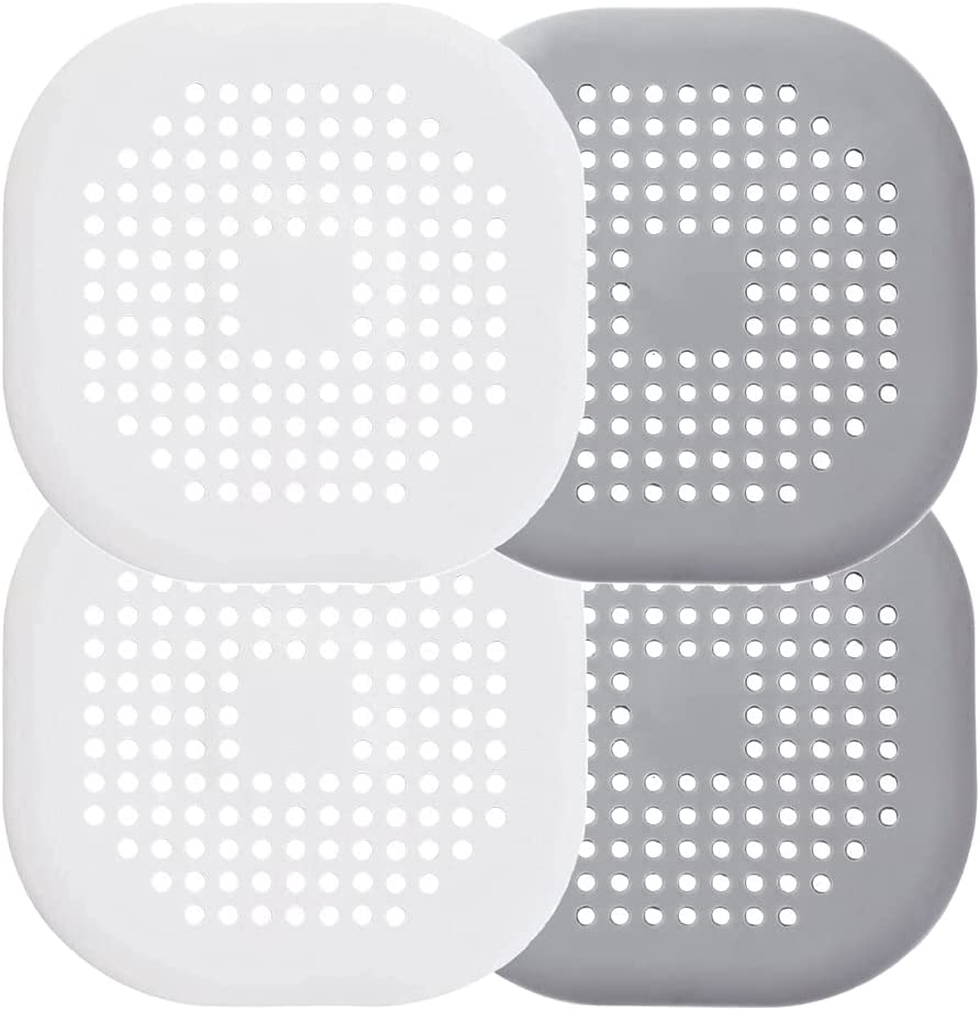4 Pcs Drain Cover for Shower 5.5-inch Drain Hair Catcher Flat Silicone Plug, Silicone Hair Stopper Drain Strainer with Suction Cups for Bathroom and Kitchen(Grey and white) - -