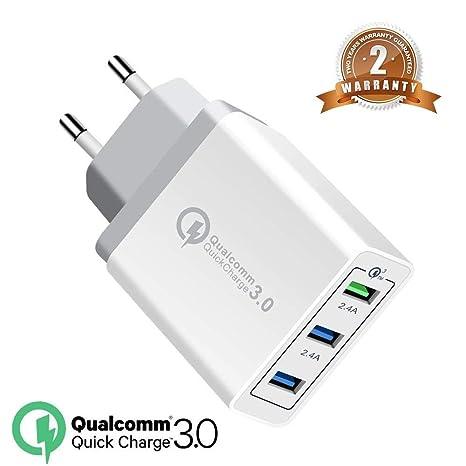 QC3.0 USB Cargador 30W rápido Cargador Movil Universal Adaptador, 3Port QC3.0 2.0 Smart Cargo sólido Desmontables en Lote schnellladeger para ...